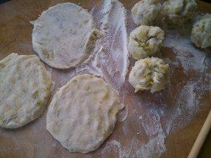 Part way through the potato cake process