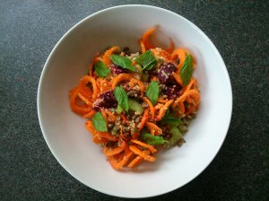 Lentil and couscous salad with carrot spirals and mint