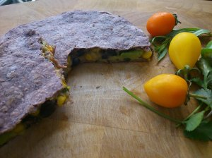 Avocado, tarragon and black bean quesadilla