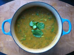 Watercress, carrot and lentil soup