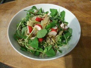 Radish, fennel and pea shoot salad with mint sauce quinoa