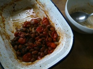 Beans baked with tomatoes and chill. What was left of them anyway...
